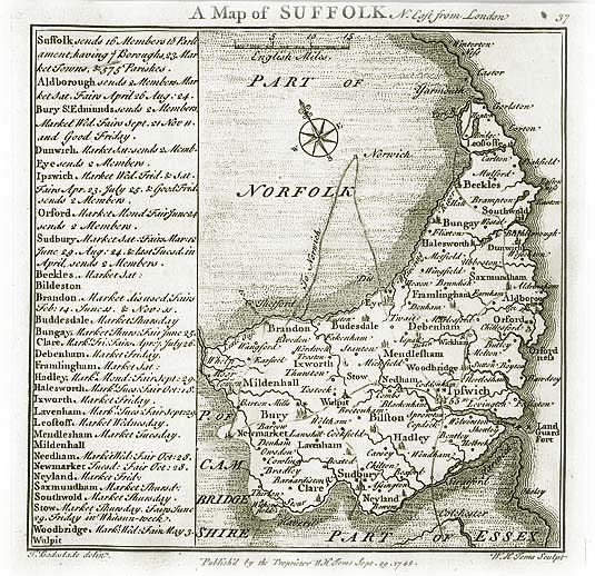 Old Map of Suffolk