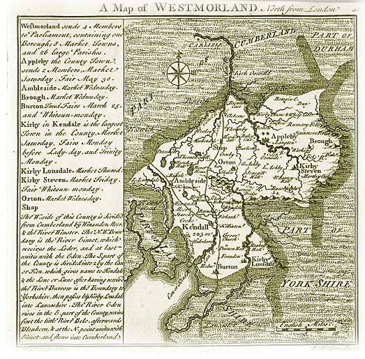Old Map of Westmorland